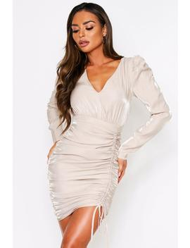 Puff Sleeve Ruched Side Detail Dress Puff Sleeve Ruched Side Detail Dress by Misspap