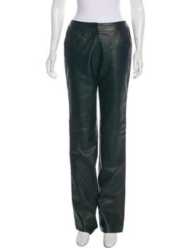 Leather Mid Rise Straight Leg Pants by Chanel