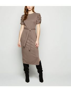 Brown Check Jacquard Ruched Sleeve Midi Dress by New Look