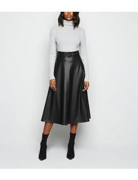 Black Coated Leather Look Belted Midi Skirt by New Look