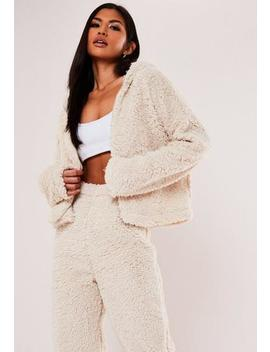 Cream Borg Teddy Zip Hoodie by Missguided