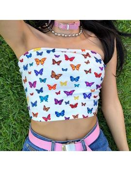 Sexy Multicolor Butterfly Print Strapless Slash Neck Tube Tops Fashion 2019 Summer Women Slim Crop Tops Female Streetwear by Ali Express.Com
