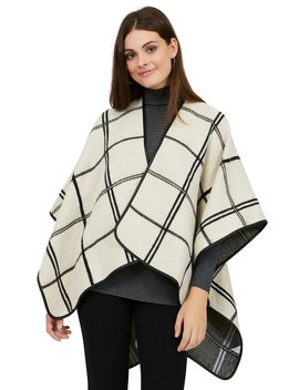 Double Window Pane Reversible Cape by Suzy Shier