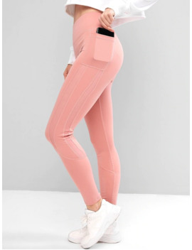 Hot Side Pockets Mesh Insert High Waisted Leggings   Pink S by Zaful