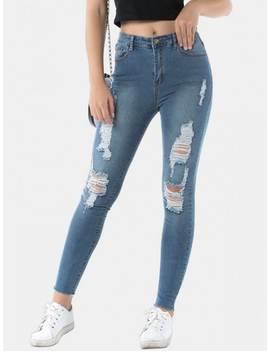 Hot Frayed Hem Distressed Skinny Jeans   Jeans Blue S by Zaful