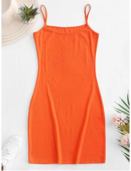 Hot Sale Plain Ribbed Cami Bodycon Dress   Orange S by Zaful
