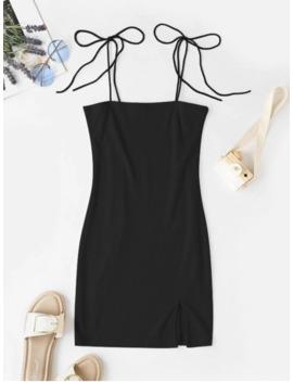 Hot Tie Shoulder Ribbed Slit Cami Dress   Black S by Zaful