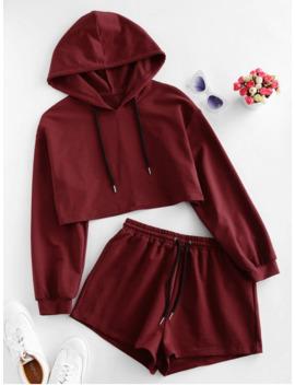 Hot Salezaful Drawstring Hooded Drop Shoulder Shorts Set   Red Wine S by Zaful