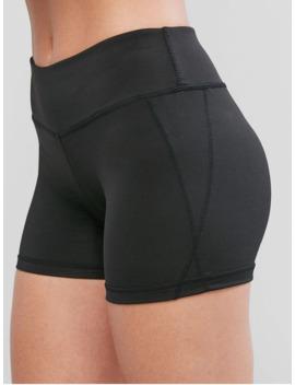 Hot Topstitching Skinny Sports Shorts   Black Xl by Zaful