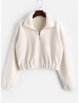 Hot Half Zip Plain Faux Fur Sweatshirt   White M by Zaful