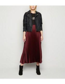 Tall Burgundy Satin Pleated Midi Skirt by New Look
