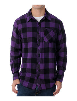 Free World Triumph Black & Purple Flannel Shirt by Free World