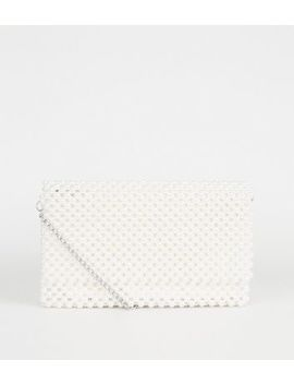 Off White Faux Pearl Foldover Clutch Bag by New Look