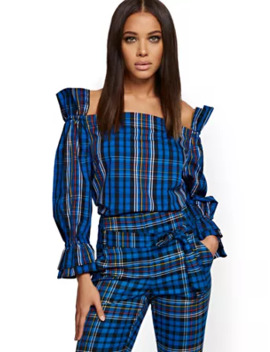 Plaid Ruffled Off The Shoulder Shirt   7th Avenue by New York & Company