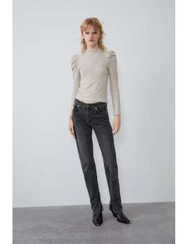 Soft Touch Sweatshirt With Puff Sleeves by Zara