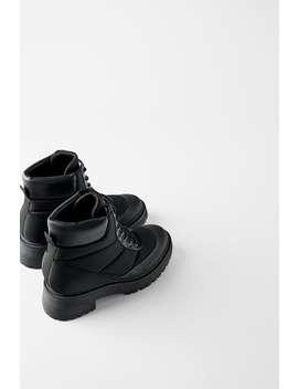 Flache Bergsteigerstiefelette Mit Steppmuster Schuhetrf Shoes & Bags by Zara