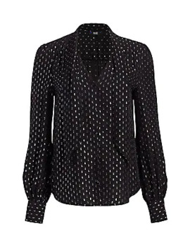 Cleobelle Metallic Dot Silk Chiffon Blouse by Paige Jeans