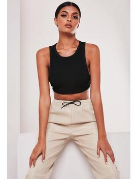 Black Rib Bandage Crop Top by Missguided