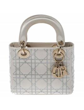 Lady Cannage Quilted Rhinestone Mini Cream Satin Tote by Dior
