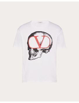 T Shirt With Go Skull Print by Valentino