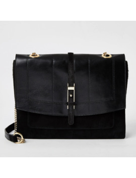 Black Leather Buckle Front Cross Body Bag by River Island