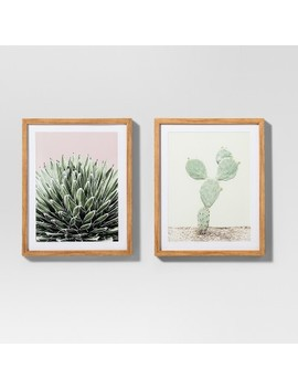 "Framed Cactus Wall Print 2pk White/Green 20""X16""   Project 62™ by Shop Collections"