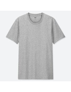 Men 100 Percents Supima Cotton Crew Neck Short Sleeved T Shirt by Uniqlo