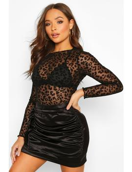 Devore Leopard Print Long Sleeved Velvet Body by Boohoo