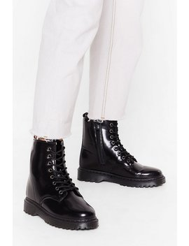 High Shine Lace Up Biker Boots by Nasty Gal