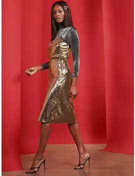 Goldtone Sequin Midi Skirt by New York & Company