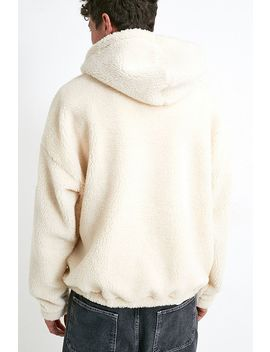 Uo Ecru Borg Hoodie by Urban Outfitters