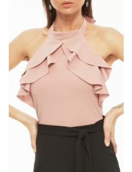 Pink Black Colour Block Halter Neck Wide Leg Jumpsuit by Select