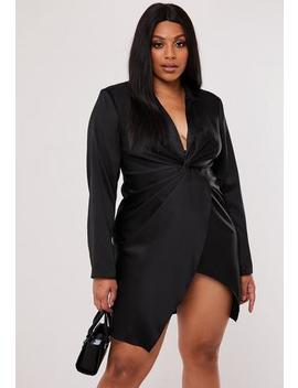 Plus Size Black Satin Twist Front Blazer Dress by Missguided