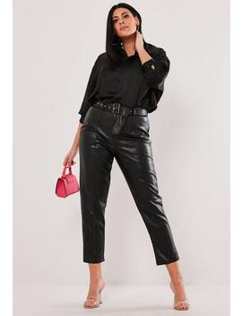 Plus Size Black Faux Leather Tapered Trousers by Missguided