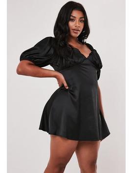 Plus Size Black Satin Milkmaid Mini Dress by Missguided