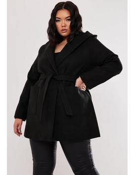 Plus Size Black Hooded Formal Coat by Missguided