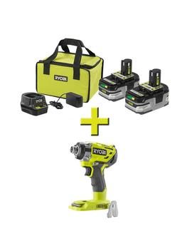 18 Volt One+ Lithium+ Hp 3.0 Ah Battery (2 Pack) Starter Kit With Charger And Bag W/Bonus One+ Brushless Impact Driver by Ryobi