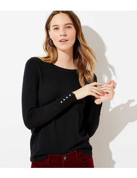 Petite Pearlized Cuff Sweater by Loft