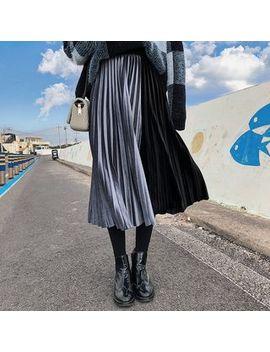 Lewwe   Pleated Velvet Midi Skirt by Lewwe