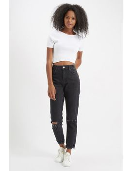 Moto Washed Black Ripped Mom Jeans by Topshop