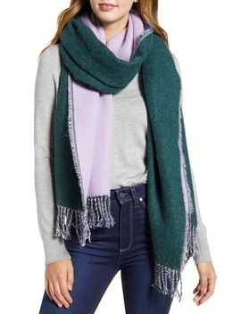 X Atlantic Pacific Two Tone Fringe Scarf by Halogen