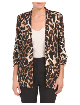 Printed Scuba Crepe Open Front Jacket by Tj Maxx
