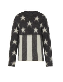 Grey Usa Flag Mohair Crewneck Sweater W/ Receipt by Louis Vuitton  ×