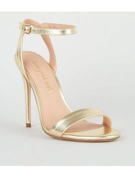 Gold Metallic 2 Part Stilettos Heels by New Look