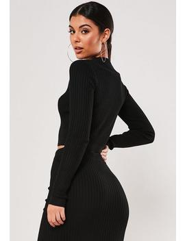 Black Co Ord Rib Cropped Cardigan by Missguided