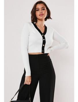 White Button Through Contrast Crop Cardigan by Missguided