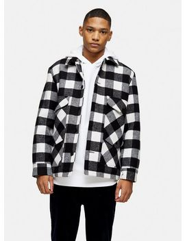 Black And White Check Coat With Wool by Topman