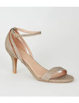 Wide Fit Gold Glitter 2 Part Stiletto Heels by New Look