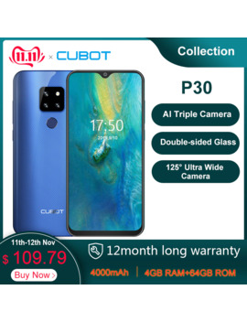 "Cubot P30 6.3"" Waterdrop Screen 2340x1080p Cellphone Helio P23 4 Gb+64 Gb Android 9.0 Pie Ai Rear Triple Cameras Face Id 4000m Ah by Ali Express.Com"