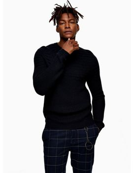 Navy Rack Yoke Textured Panel Jumper by Topman